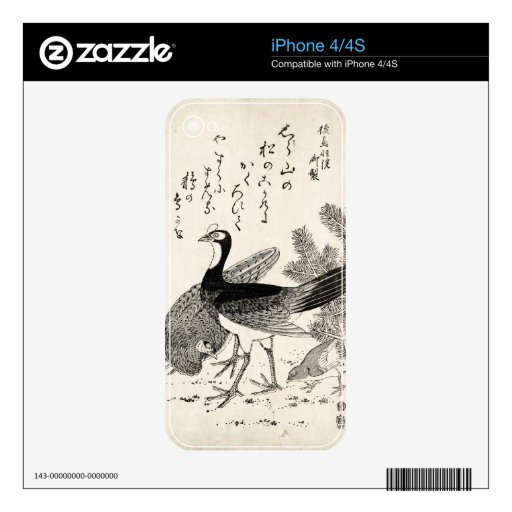 Cool japanese vintage ukiyo-e trio birds ink art decal for iPhone 4S
