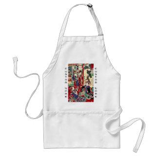 Cool japanese vintage ukiyo-e trio geisha scroll adult apron