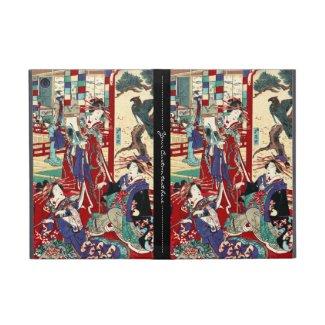 Cool japanese vintage ukiyo-e trio geisha scroll iPad mini cases