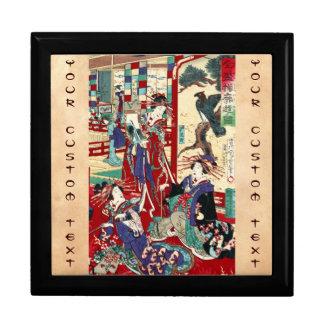 Cool japanese vintage ukiyo-e trio geisha scroll jewelry box