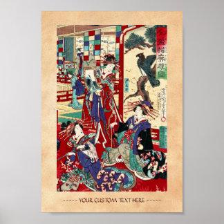 Cool japanese vintage ukiyo-e trio geisha scroll poster