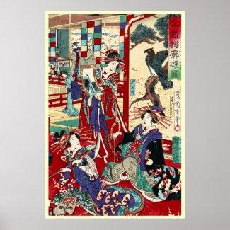 Cool japanese vintage ukiyo-e trio geisha scroll posters