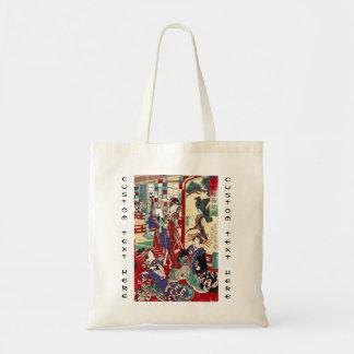 Cool japanese vintage ukiyo-e trio geisha scroll tote bag