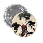 Cool japanese vintage ukiyo-e trio lady geisha art pinback buttons