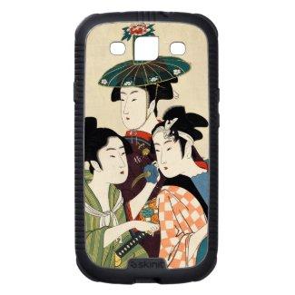 Cool japanese vintage ukiyo-e trio lady geisha art galaxy s3 covers