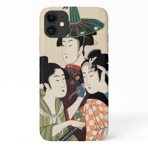 Cool japanese vintage ukiyo-e trio lady geisha art iPhone 11 case