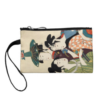 Cool japanese vintage ukiyo-e trio lady geisha art coin purse