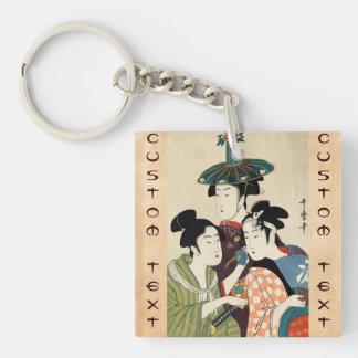 Cool japanese vintage ukiyo-e trio lady geisha art keychain