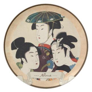 Cool japanese vintage ukiyo-e trio lady geisha art melamine plate