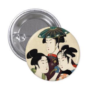 Cool japanese vintage ukiyo-e trio lady geisha art pinback button
