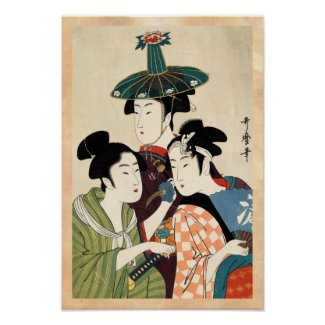 Cool japanese vintage ukiyo-e trio lady geisha art print