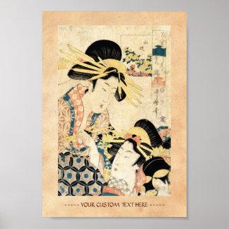 Cool japanese vintage ukiyo-e two geisha lady poster