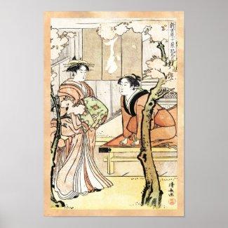 Cool japanese vintage ukiyo-e two geisha scroll print
