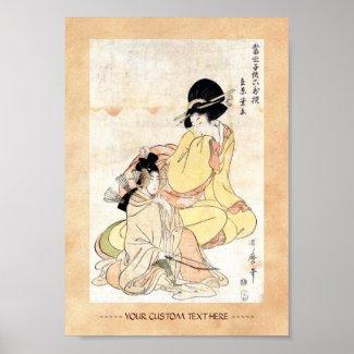 Cool japanese vintage ukiyo-e two ladies woman art posters