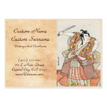 Cool japanese vintage ukiyo-e warrior old scroll business card template