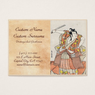 Cool japanese vintage ukiyo-e warrior old scroll business card