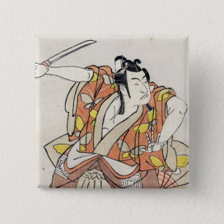 Cool japanese vintage ukiyo-e warrior old scroll pinback button