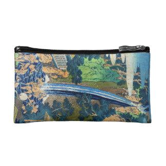 Cool japanese vintage ukiyo-e waterfall Hokusai Makeup Bag