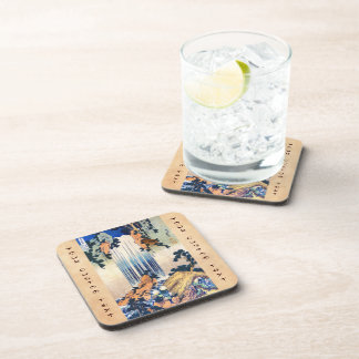 Cool japanese vintage ukiyo-e waterfall Hokusai Drink Coaster