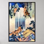 Cool japanese vintage ukiyo-e waterfall Hokusai Poster