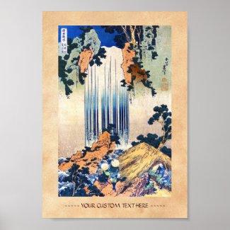 Cool japanese vintage ukiyo-e waterfall Hokusai Posters