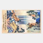 Cool japanese vintage ukiyo-e waterfall Hokusai Rectangular Sticker