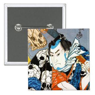 Cool japanese warrior hero samurai skull art button