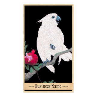 Cool japanese white cockatoo parrot tropical bird business card