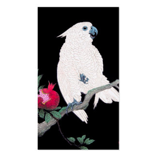 Cool japanese white cockatoo parrot tropical bird business card template