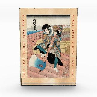 Cool japanese wintage ukiyo-e warrior scroll award