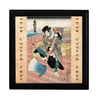 Cool japanese wintage ukiyo-e warrior scroll jewelry box