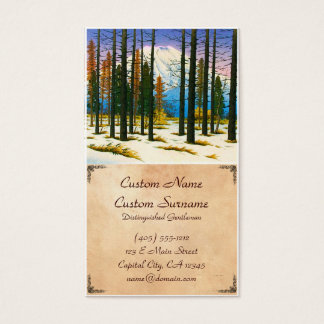 Cool japanese winter snow forest Mt Fuji mountain Business Card