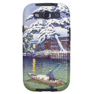 Cool japanese winter snow lake boat fisherman scen galaxy SIII cases