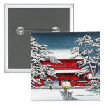 Cool japanese winter temple shrine kyoto scenery 2 inch square button