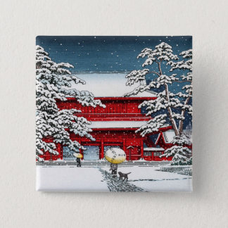 Cool japanese winter temple shrine kyoto scenery pinback button