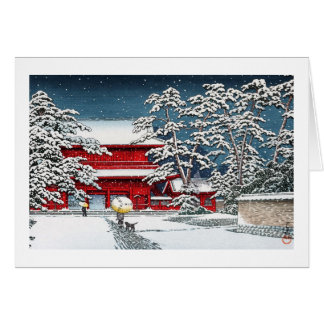 Cool japanese winter temple shrine kyoto scenery stationery note card