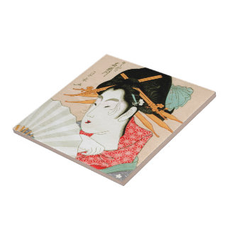 Cool japanese woodprint geisha with fan art ceramic tile
