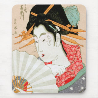 Cool japanese woodprint geisha with fan art mouse pad