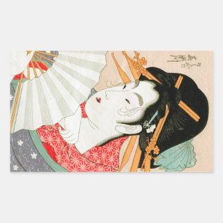 Cool japanese woodprint geisha with fan art rectangular sticker