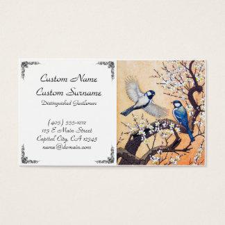Cool japanese Yoshida spring birds cherry tree Business Card