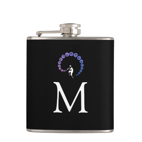 Cool Jazz Trumpet Musician Monogram Blue Lilac Flask