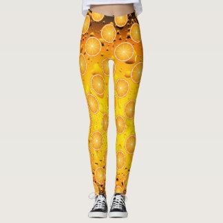 Cool Juicy Orange slices pattern on Water drops Leggings