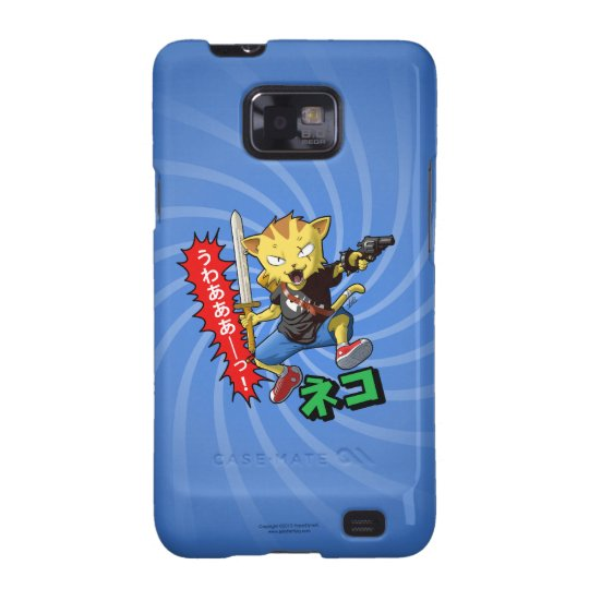 Cool Jumping Cat with Sword and Revolver Gun Samsung Galaxy SII Cover