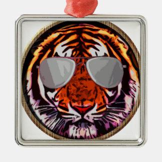 cool jungle cat round ornaments