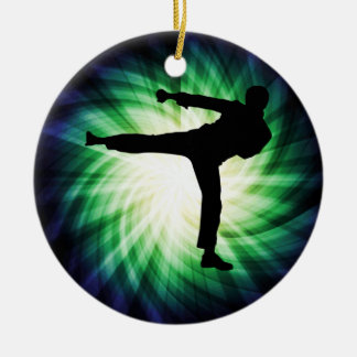 Cool Karate Kick Double-Sided Ceramic Round Christmas Ornament