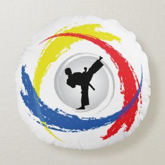 Cool Karate Tricolor Emblem Round Pillow