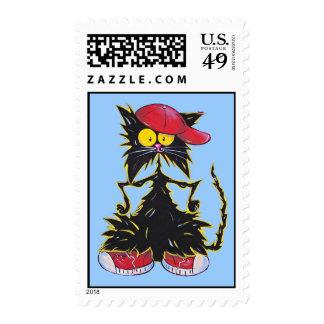 Cool Kat Hip Hop Postage Stamp