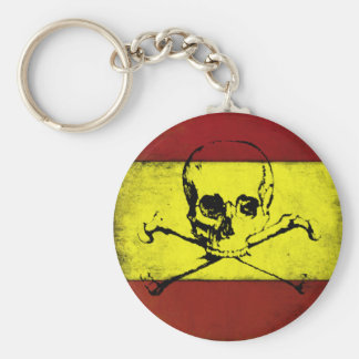 Cool Keychain with Vintage Skull Flag from Spain