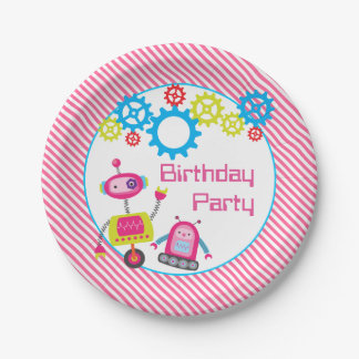 Cool Kids Birthday Party Robot Pink Paper Plate