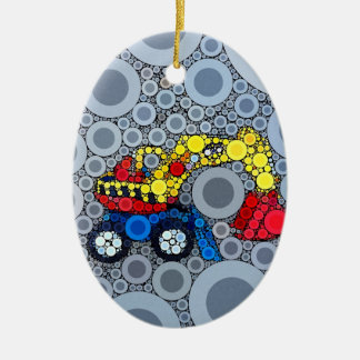 Cool Kids Construction Truck Excavator Digger Double-Sided Oval Ceramic Christmas Ornament